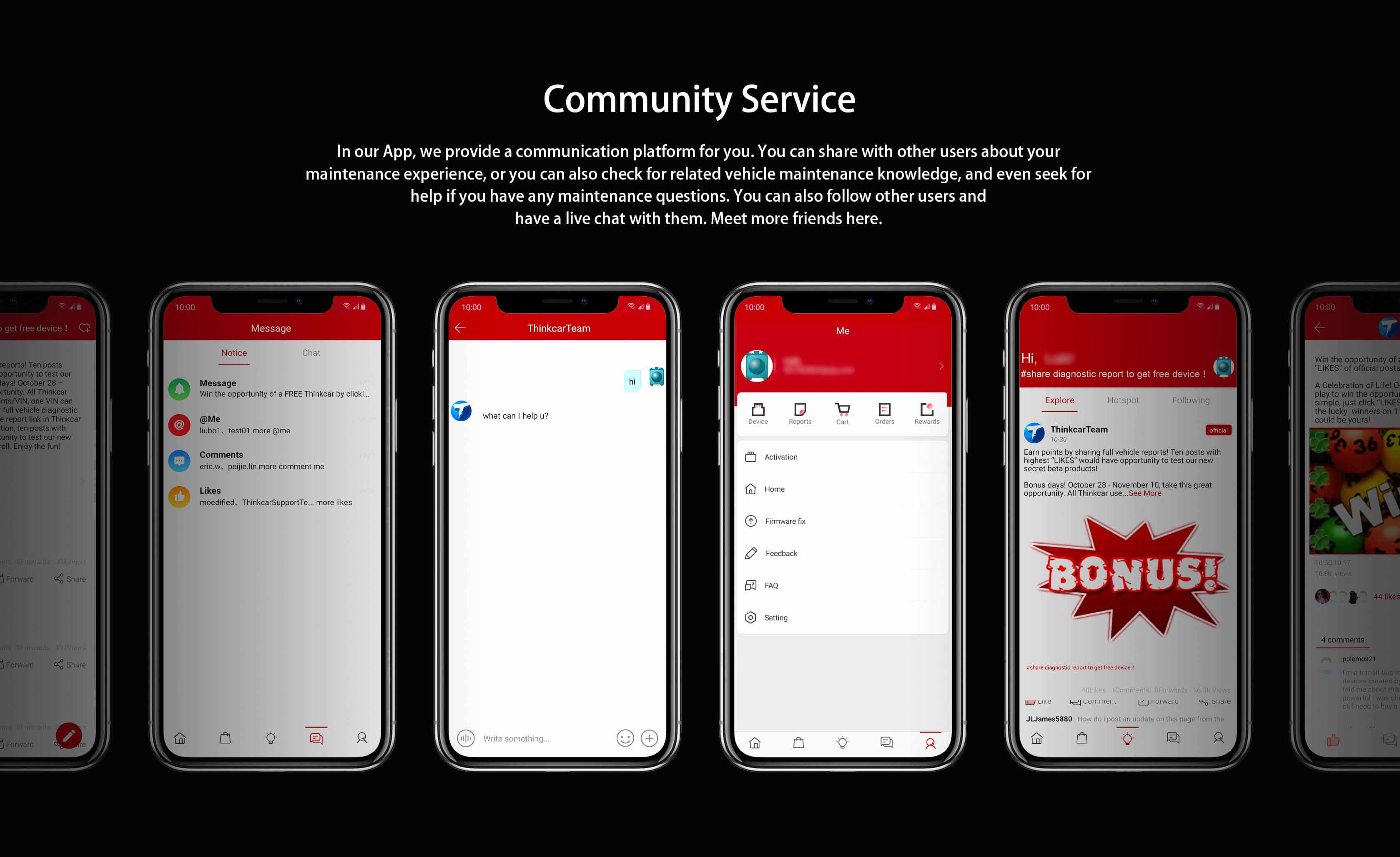 The Thinkdiag Community Service will enable users to talk to other users as a comunity to make sure you are never alone.