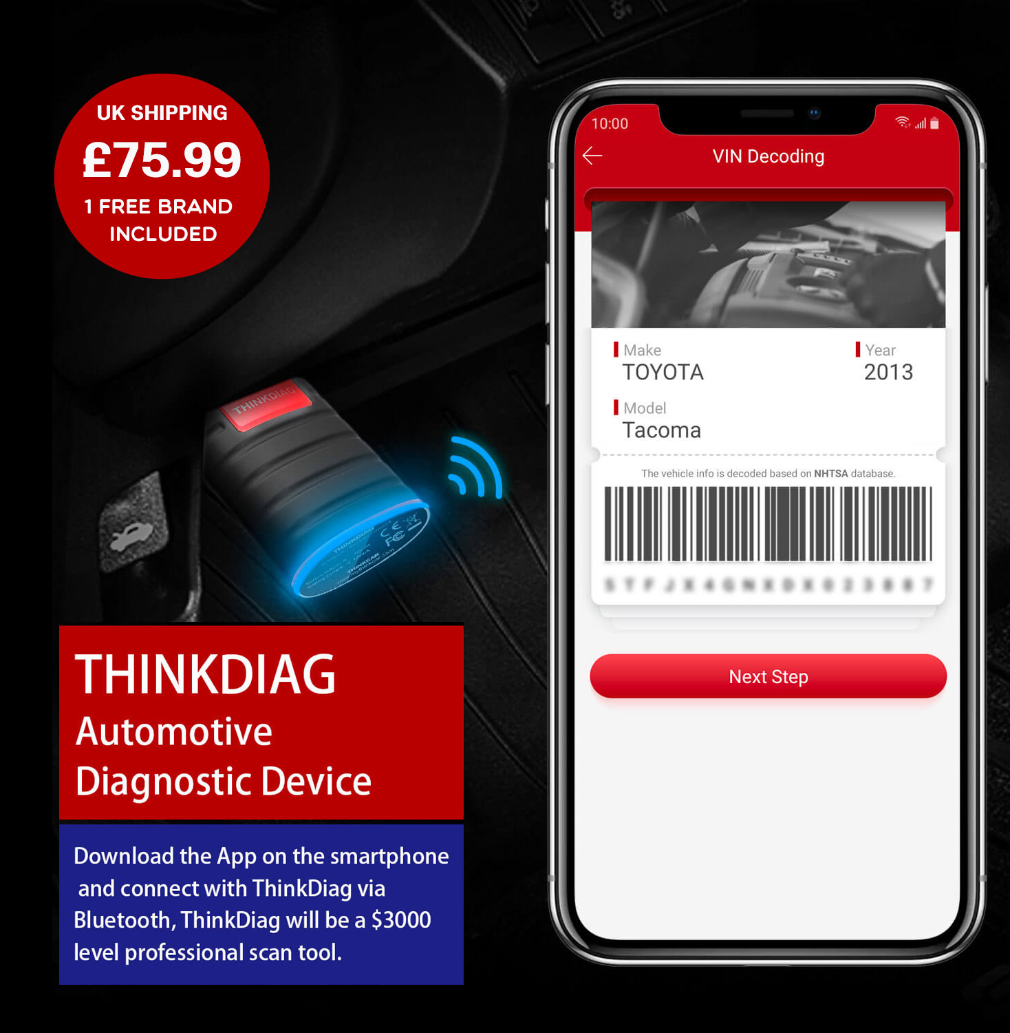 THINKDIAG Advanced Automotive Diagnostic Device (The Next Generation In Diagnostics). Download The App On A Android or IOS Tablet Or Smartphone then Connect Via Bluetooth To ThinkDiag.Thinkdiag will become a profeshional OEM level like tool that will not disapoint and could save you alot of money with the sometimes high prices of main dealers..